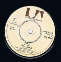 PAUL ANKA (You're) Having My Baby Vinyl Record 7 Inch United Artists 1974